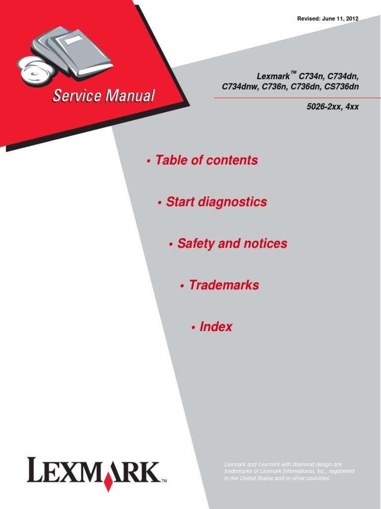 lexmark c734n c734dn c734dnw c736n c736dn cs736dn color laser printer service repair manual