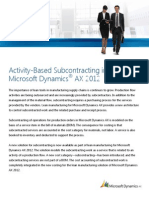 Activity Based Subcontracting in AX 2012 R2