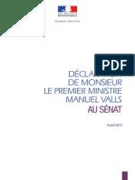Déclaration de Mr le Premier Ministre Manuel Valls devant le Sénat_9avril 14