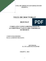 Corelatii Clinico-histologice in Accidentele Vasculare Cerebrale Ischemice
