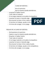 REGLAS DE LA CLASE DE PLÁSTICA