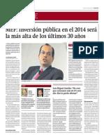 MEF inversión pública 2014 más alta que 30 años_Gestión 11-04-2014