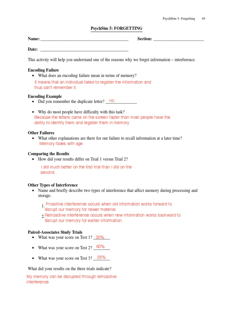 5 worksheets answers psychsim PsychSim 5