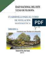CUADERNILLO MAT EDUCACIÓN - NIVELACION