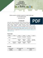 2 Circular IV SCMP - Simposio Sobre Cidades Medias e Pequenas Da Bahia - Barreiras 2014. Final