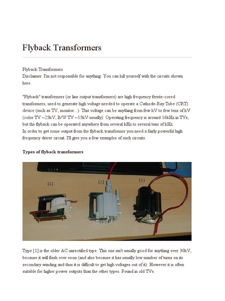 Flyback Transformers   Transformer   Physical Quantities