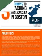 Pathways to Licensure in Boston Public Schools