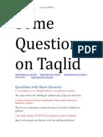 Taqlid Questions