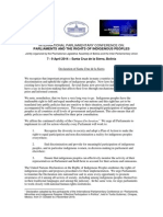 IPU Declaration of Santa Cruz de la Sierra 2014