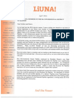 Laborers' International Union of North America letter to members on Keystone