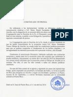 Arecibo - Comunicado de Prensa
