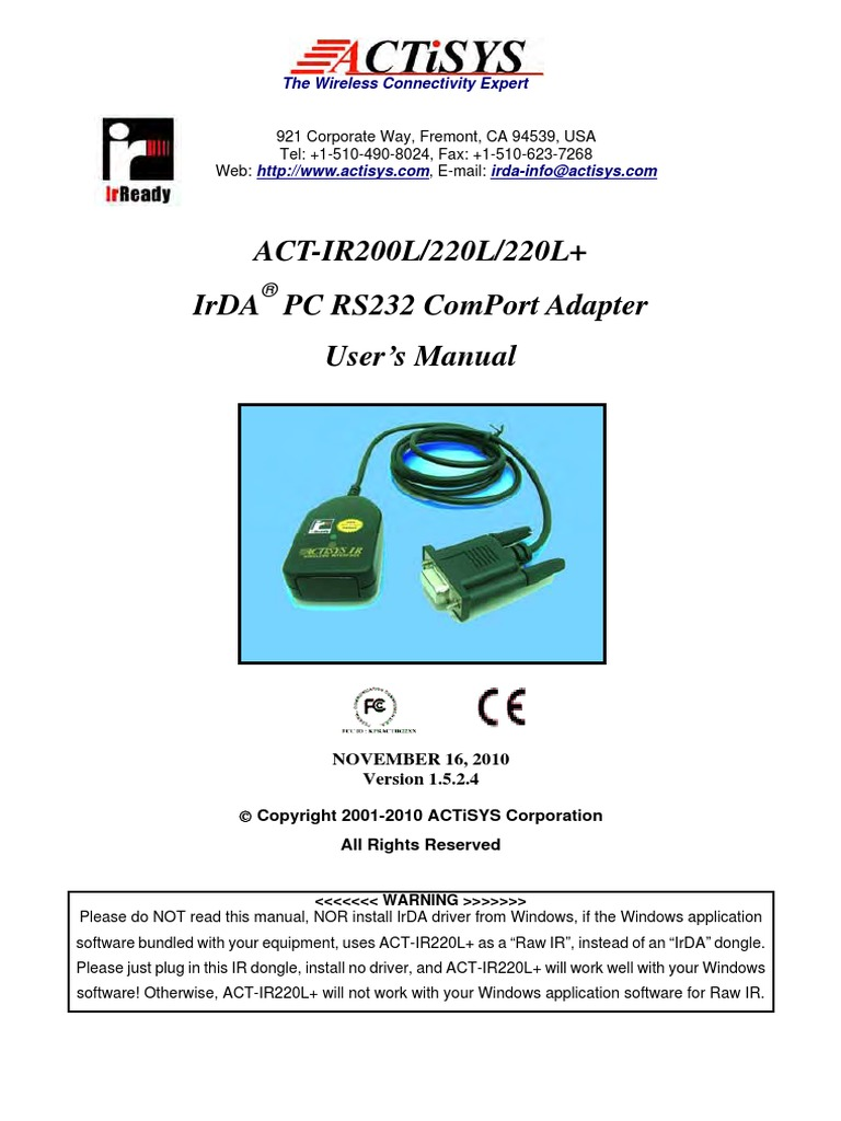 Download Driver: ACT-IR200L Infrared Wireless Interface