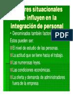 FACTORES SITUACIONALES QUE INFLUYEN EN LA INTEGRACIÓN DE PERSONAL