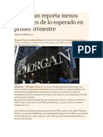 JPMorgan Reporta Menos Utilidades de Lo Esperado en Primer Trimestre