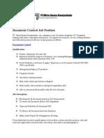 Document Control Job Position