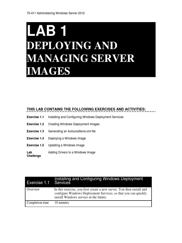 70-411 Administering Windows Server 2012 with Lab Print LM Lab 01 Worksheet  | Microsoft Windows | Installation (Computer Programs)