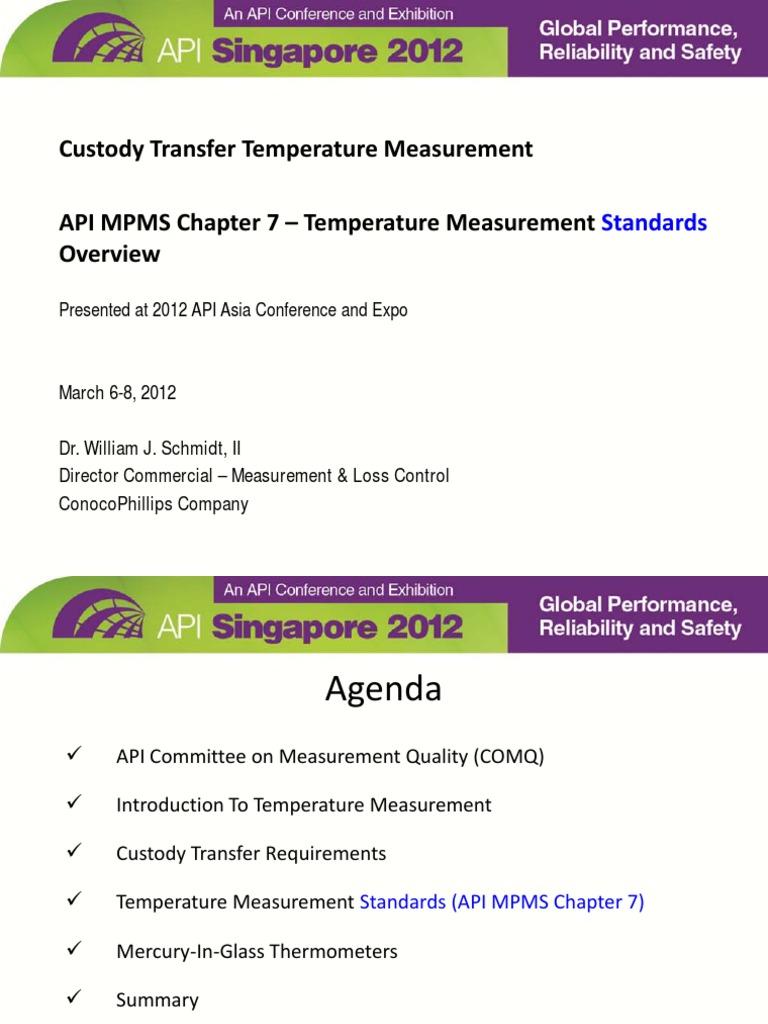 Custody Transfer Temperature Measurement API MPMS Ch. 7 | Thermometer |  Calibration