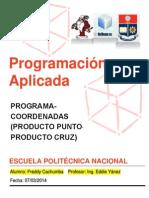 Programa Java NetBeans Coordenadas Producto Punto y Cruz