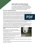 Preventing Riverside Water Heater Repairs