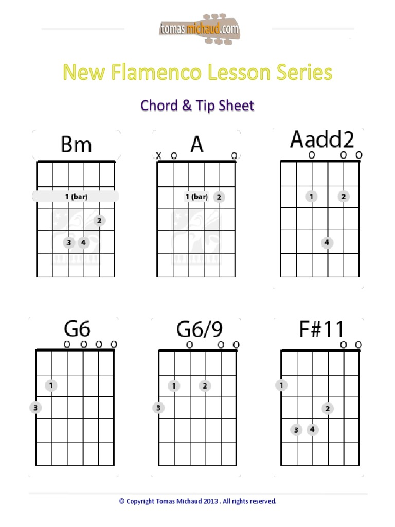 New Flamenco Lesson Series Chord And Tip Sheet