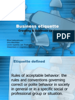 Ethics Business Etiquette Lecture 9