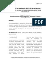 Influencia de La Microestructura Del Acero Aisi Sae 1045 en El Comportamiento Ante El Impacto de Proyectiles