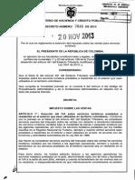 Decreto 2646 Del 20 de Noviembre de 2013