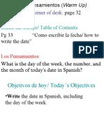 Los Pensamientos (Warm Up) Homework on Corner of Desk