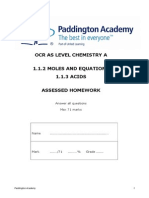 Moles, Equations and Acids ocr A unit 1