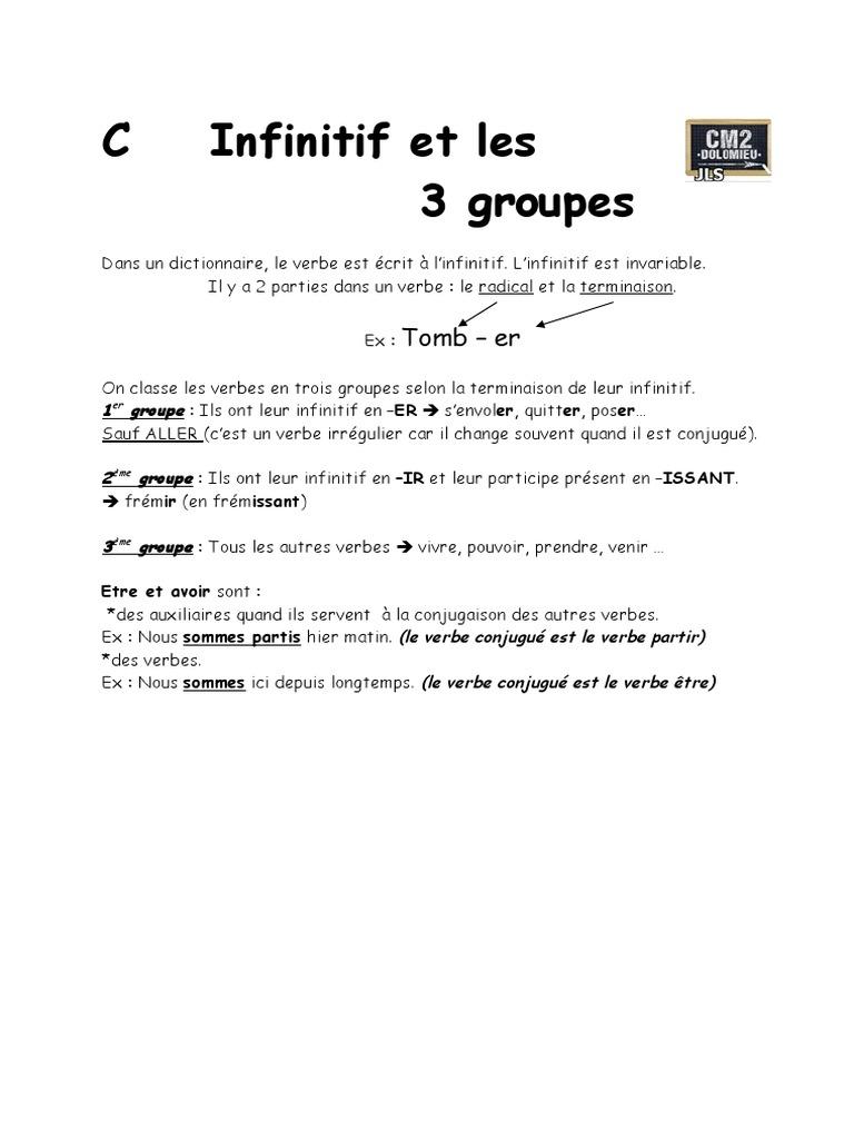 01 Infinitif Et Groupes Lexicologie Verbe