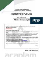 Acaplam 2012 Prefeitura de Tabira Pe Medico Dermatologia Prova