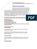 Third Quarter Review of RBI Monetary Policy for 2009