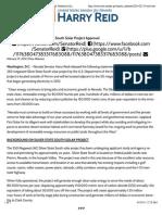 U.S. Senate Majority Leader Harry Reid  Reid Statement on Silver State South Solar Project Approval