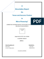 Dissertation Report on Issue and Success Factors in Micro Financing (1)
