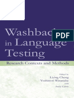 Washback in Language Testing - Research, Contexts and Methods