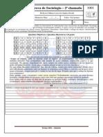 Prova 1 Bim Sociologia Com Gabarito 1001 - 2 Chamada