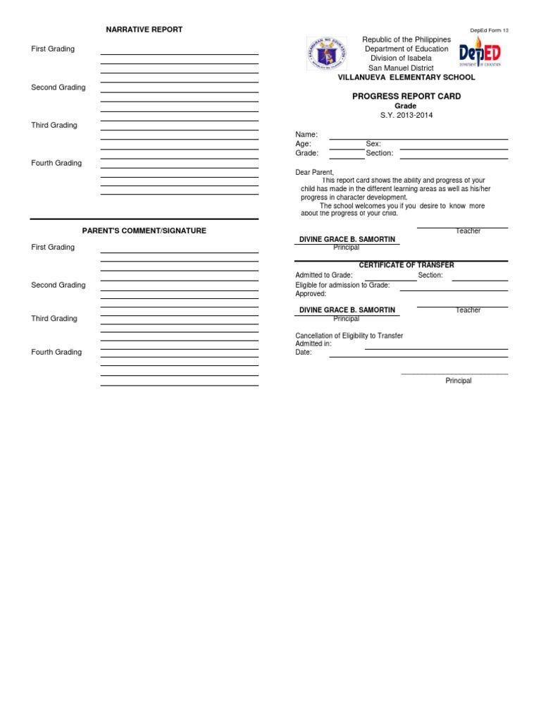 fORM 138-E for K-12 Curriculum - school report card