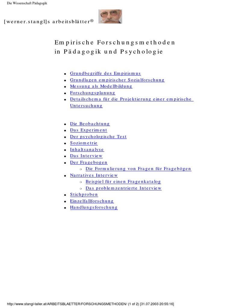 Empirische Forschungsmethoden in Pädagogik und Psychologie