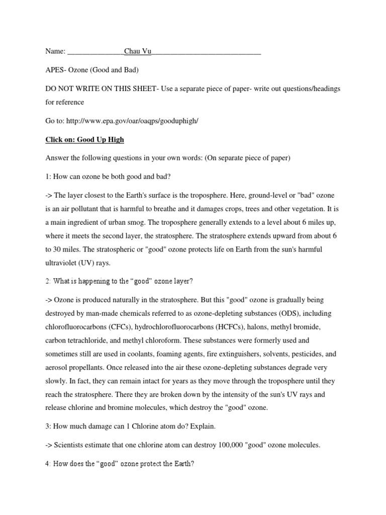 worksheet Smog City Worksheet Answers ozone online assignment depletion chlorofluorocarbon
