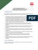 Rules and Regulations of Tafi