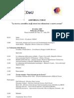 Programma Assemblea Ricerca Ottobre 2009