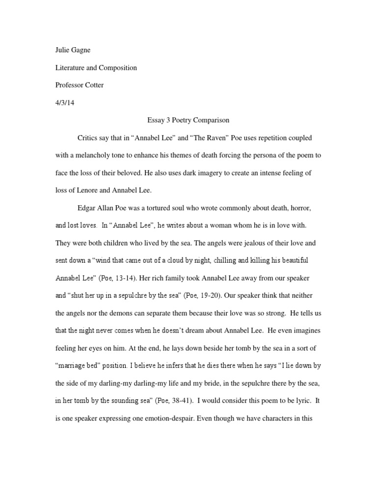 "literary elements used by poe essay 2 the introduction the introduction to your literary analysis essay should try to capture your reader""s interest to bring immediate focus to your subject, you may want to use a quotation, a."