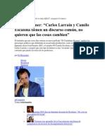 27 de noviembre de 2013 Stefan Kramer. Carlos Larraín y Camilo Escalona tienen un discurso común, no quieren que las cosas cambien
