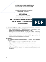 Convocatoria de Intercambio Estudiantil Para 2014-1