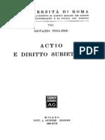 Actio e Diritto Subiettivo Giovanni Pugliese