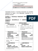 HOJA RESUMEN DE ACTIVIDADES ACADÉMICAS-2013