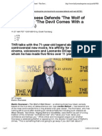 Martin Scorsese Defends 'the Wolf of Wall Street'