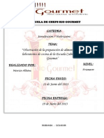 Informe de las áreas de cocina de Riogourmet