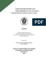 Analisis Faktor-faktor Yang Berpengaruh Terhadap Audit Judgment