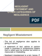 Negligent Misstatement and Other Categories of Negligence